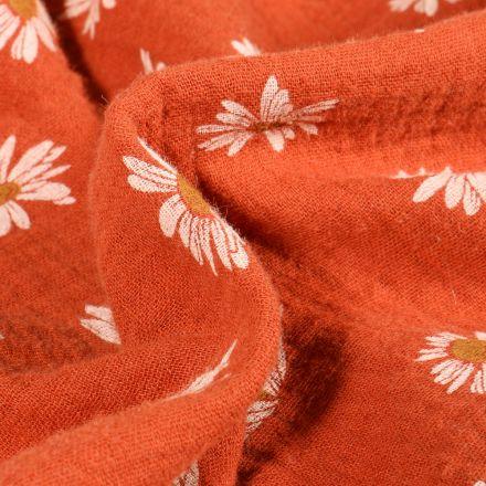 Tissu Double gaze Marguerite sur fond Orange