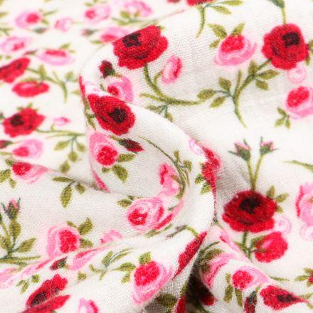 Tissu Double gaze imprimé Boutons de rose sur fond Blanc cassé