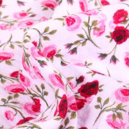 Tissu Double gaze imprimé Boutons de rose sur fond Blanc