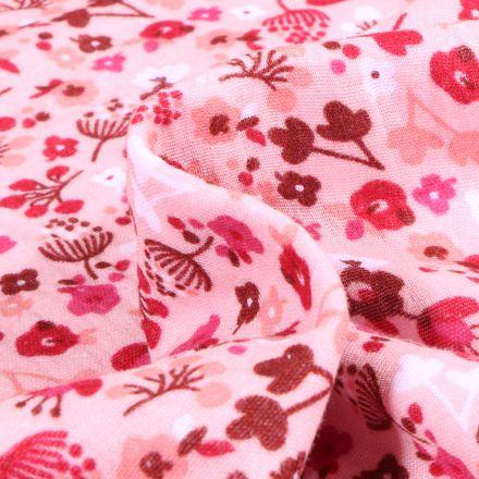 Tissu Double gaze imprimé Fleuris sur fond Rose
