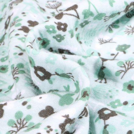 Tissu Double gaze imprimé Fleuris sur fond Vert menthe clair