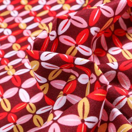 Tissu Coton imprimé LittleBird Fleurs abstraites sur fond Bordeaux