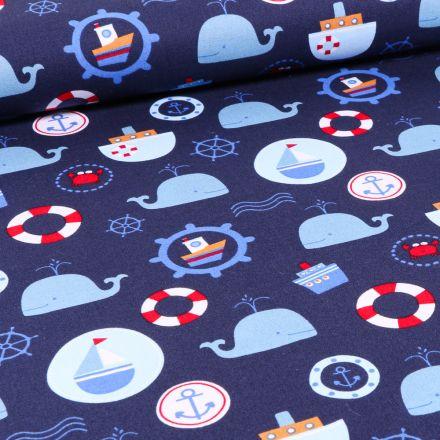 Tissu Coton imprimé LittleBird Baleines et motifs marin sur fond Bleu marine
