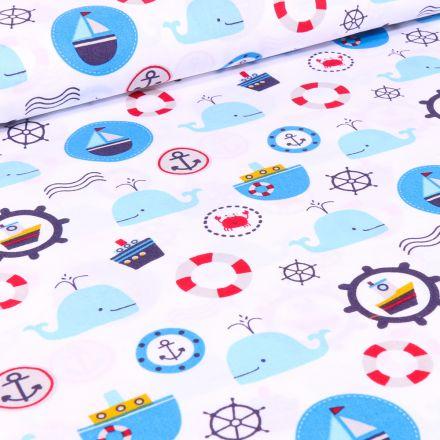 Tissu Coton imprimé LittleBird Baleines et motifs marin sur fond Blanc