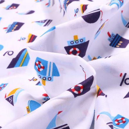 Tissu Coton imprimé LittleBird Bateaux sur fond Blanc