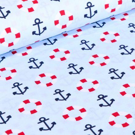 Tissu Coton imprimé Brest Ancres marine et bouée sur fond Bleu ciel