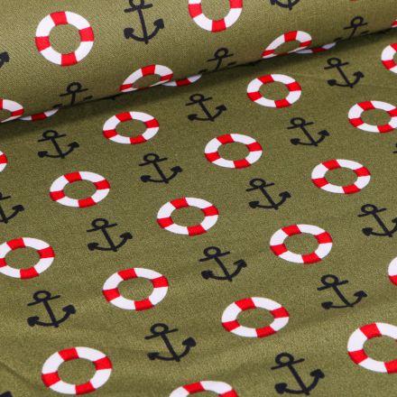 Tissu Coton imprimé Brest Ancres marine et bouée sur fond Vert kaki