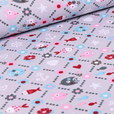 Tissu Coton imprimé LittleBird Poissons et fleurs sur fond Gris