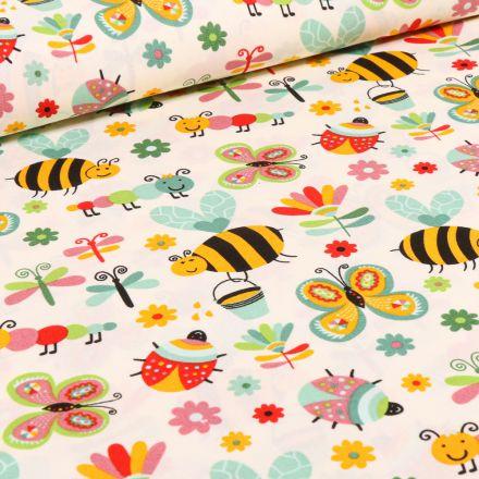 Tissu Coton imprimé LittleBird Insectes colorés sur fond Beige