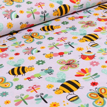 Tissu Coton imprimé LittleBird Insectes colorés sur fond Gris
