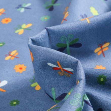 Tissu Coton imprimé LittleBird Papillons et fleurs colorés sur fond Bleu