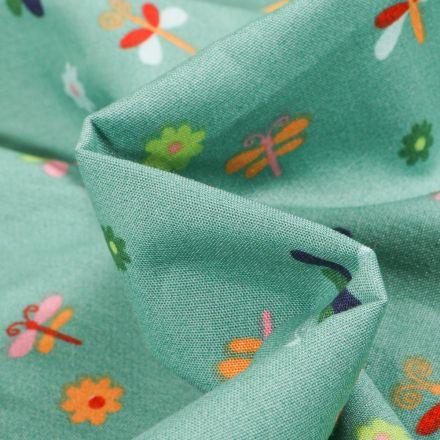 Tissu Coton imprimé LittleBird Papillons et fleurs colorés sur fond Vert