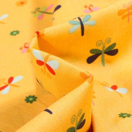 Tissu Coton imprimé LittleBird Papillons et fleurs colorés sur fond Jaune