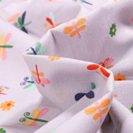 Tissu Coton imprimé LittleBird Papillons et fleurs colorés sur fond Gris