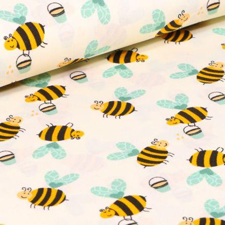 Tissu Coton imprimé LittleBird Abeilles sur fond Beige