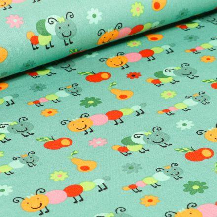 Tissu Coton imprimé LittleBird Chenilles et fruits sur fond Vert menthe