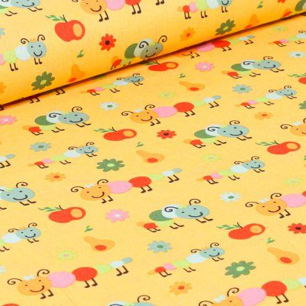Tissu Coton imprimé LittleBird Chenilles et fruits sur fond Jaune