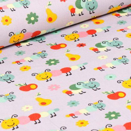 Tissu Coton imprimé LittleBird Chenilles et fruits sur fond Gris clair