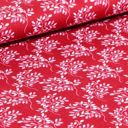 Tissu Coton imprimé LittleBird Branches fleuris sur fond Rouge