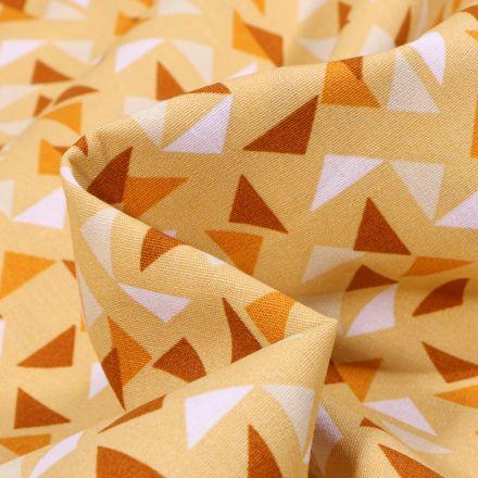 Tissu Coton imprimé LittleBird Triangles sur fond Jaune