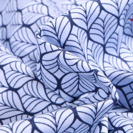Tissu Coton imprimé Romantic Feuilles sur fond Bleu ciel