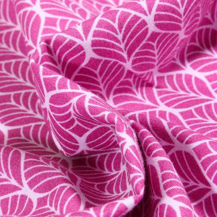 Tissu Coton imprimé Romantic Feuilles sur fond Rose
