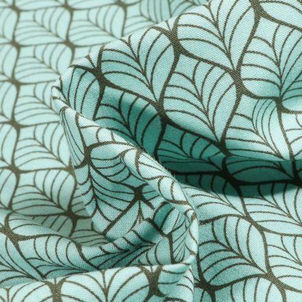 Tissu Coton imprimé Romantic Feuilles sur fond Vert menthe