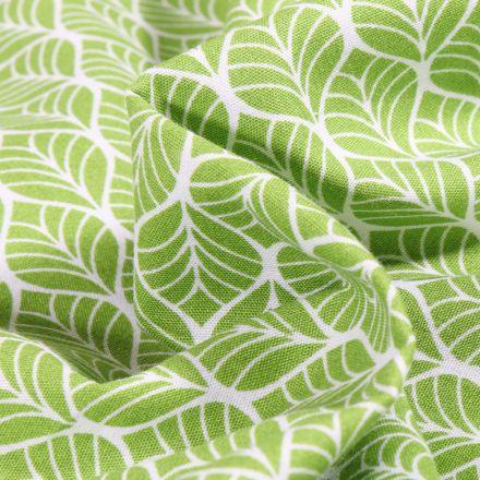 Tissu Coton imprimé Romantic Feuilles sur fond Vert