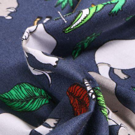 Tissu Coton imprimé LittleBird Animaux de la jungle sur fond Bleu marine