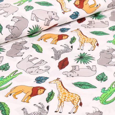 Tissu Coton imprimé Animaux de la savane sur fond Blanc