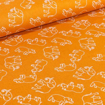 Tissu Coton imprimé Elephants sur fond Jaune
