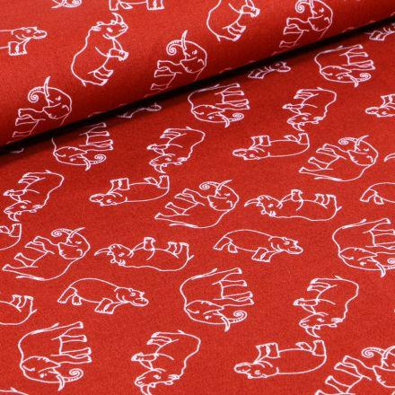 Tissu Coton imprimé Elephants sur fond Rouille