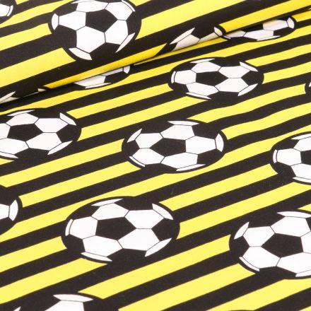 Tissu Coton imprimé Ballons de foot et rayures noires sur fond Jaune