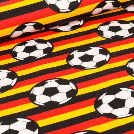 Tissu Coton imprimé Ballons de foot et rayures jaunes et rouges sur fond Noir