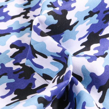 Tissu Coton imprimé LittleBird Camouflages sur fond Bleu