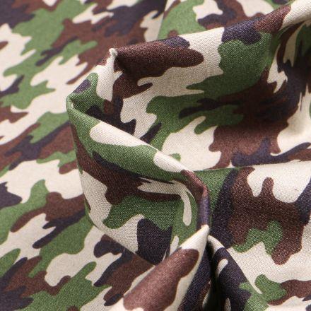 Tissu Coton imprimé LittleBird Camouflages sur fond Marron