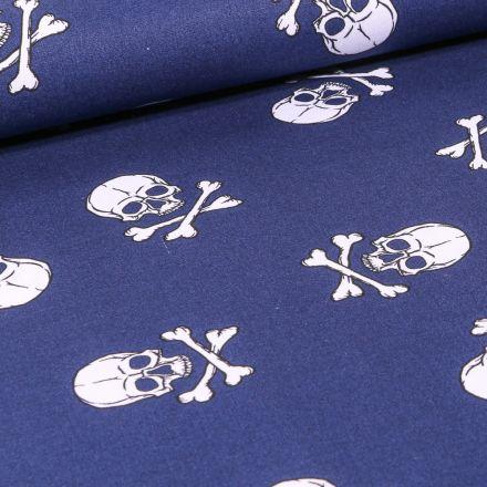 Tissu Coton imprimé Têtes de morts sur fond Bleu marine