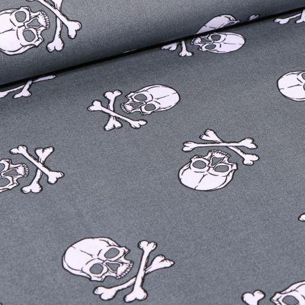 Tissu Coton imprimé Têtes de morts sur fond Gris