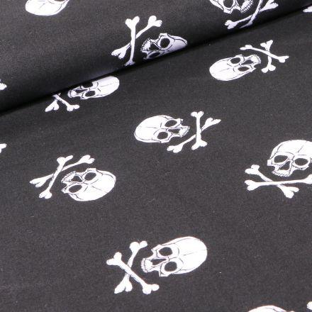 Tissu Coton imprimé Têtes de morts sur fond Noir