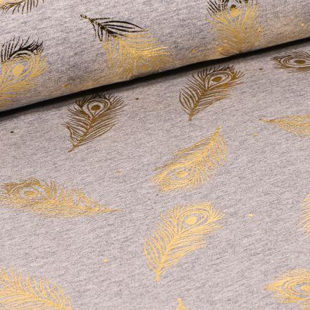 Tissu Jersey Coton Plumes métallisées sur fond Gris clair chiné