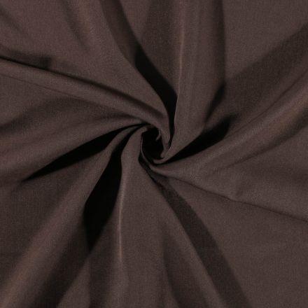 Tissu Gabardine de viscose uni Marron chocolat - Par 10 cm