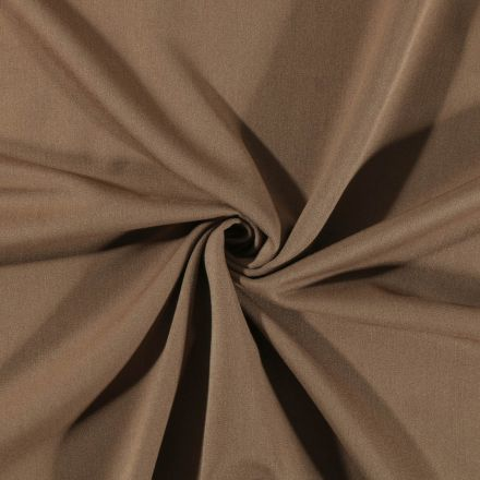 Tissu Gabardine de viscose uni Marron Clair - Par 10 cm