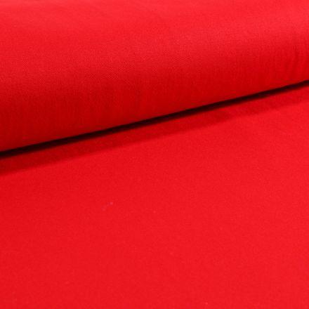 Tissu Coton Sergé extensible Rouge - Par 10 cm