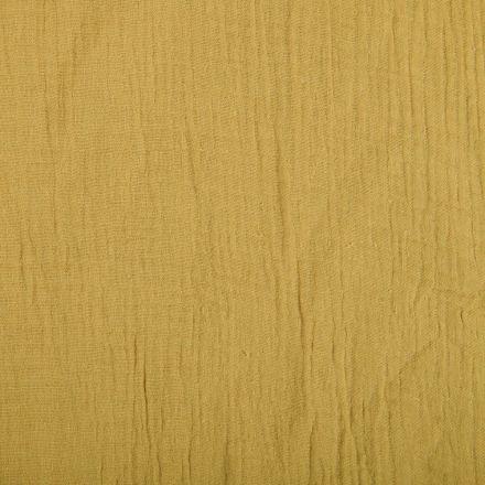 Tissu Double gaze de coton uni Jaune Ocre - Par 10 cm