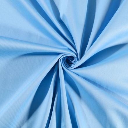Tissu Coton Satiné extensible Bleu Ciel - Par 10 cm