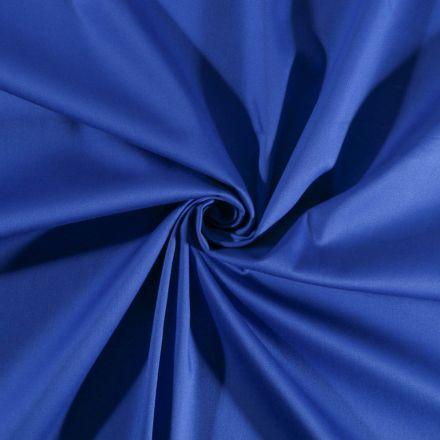 Tissu Coton Satiné extensible Bleu cobalt - Par 10 cm