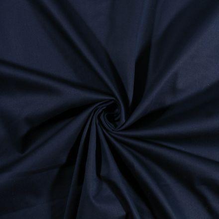 Tissu Coton Satiné extensible Bleu Marine - Par 10 cm
