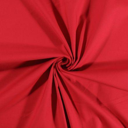 Tissu Coton Satiné extensible Rouge cardinal - Par 10 cm