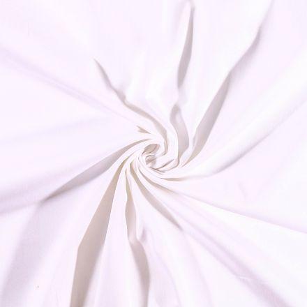 Tissu Coton Satiné extensible Blanc - Par 10 cm