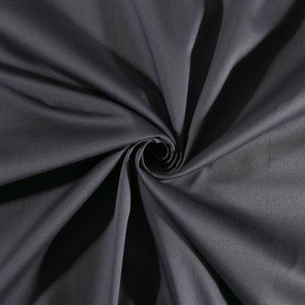 Tissu Coton Satiné extensible Gris ardoise - Par 10 cm